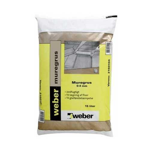 Weber muregrus 0-4 mm anvendes som strøsand samt til sandkasser og lægning af fliser.