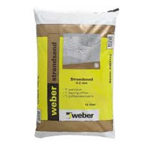 Weber Strandsand 0-2 mm anvendes som strøsand ved glatførebekæmpelse samt til sandkasser og lægning