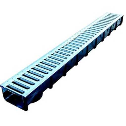 Afløbsrende i plast m/ 10 mm galvaniseret rist til 1,5t belastning. B100 x H80 x L1000 mm.