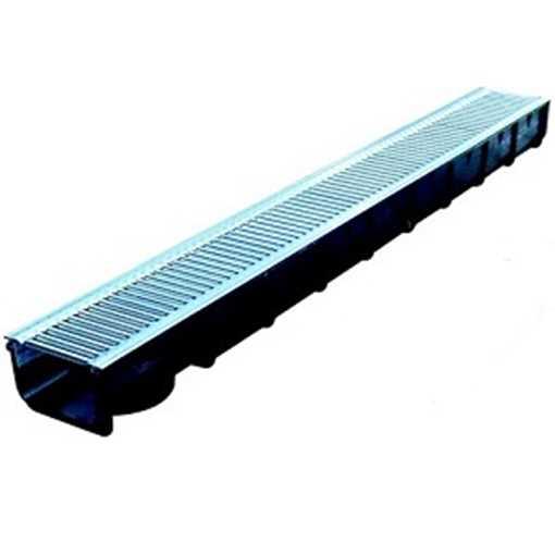 B100 x H80 x L1000 mm Afløbsrende i plast m/ 6 mm galvaniseret rist til 1,5t belastning