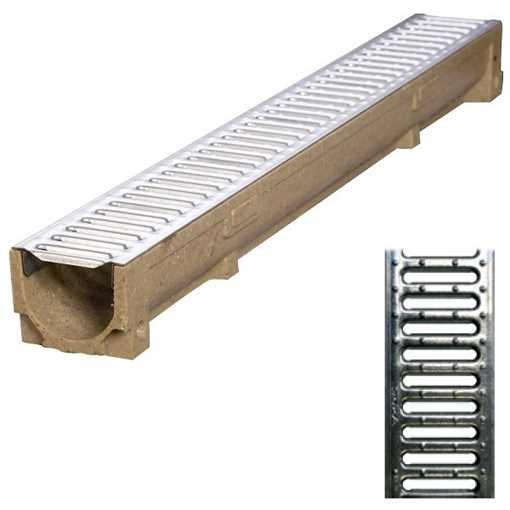 B100 x H60 x L1000 mm Afløbsrende m/ 10 mm galvaniseret rist til 1,5t belastning