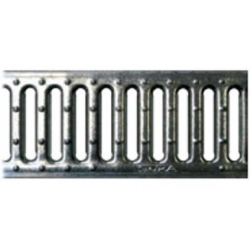 B100 x H100 x L500 mm Tværrende m/ 10 mm galvaniseret rist til 1,5t belastning