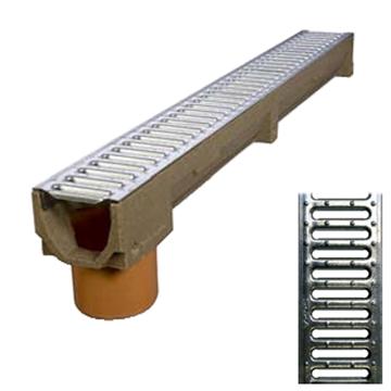 B100 x H100 x L1000 mm Afløbsrende m/ 110 mm lodret udløb og 10 mm galvaniseret rist til 1,5t belast