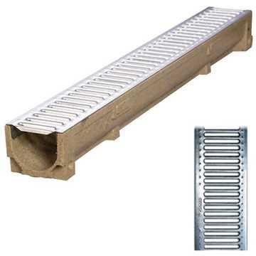 Afløbsrende m/ 6 mm galvaniseret rist til 1,5t belastning.B100 x H100 x L1000 mm.