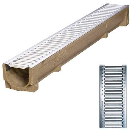Afløbsrende m/ 6 mm galvaniseret rist til 1,5t belastning. B100 x H100 x L1000 mm.