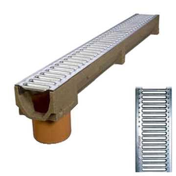 B100 x H100 x L1000 mm Afløbsrende m/ 110 mm lodret udløb og 6 mm galvaniseret rist til 1,5t belastn