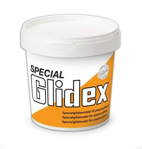 Special Glidex er en højeffektiv sæbeemulsion, der anvendes som glidemiddel ved montage af mufferør