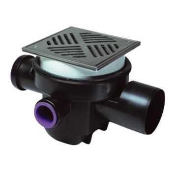 Kælderafløb med udtagelig vandlås og integreret dobbelt højvandslukke. Udtagelige slamspand, samt in