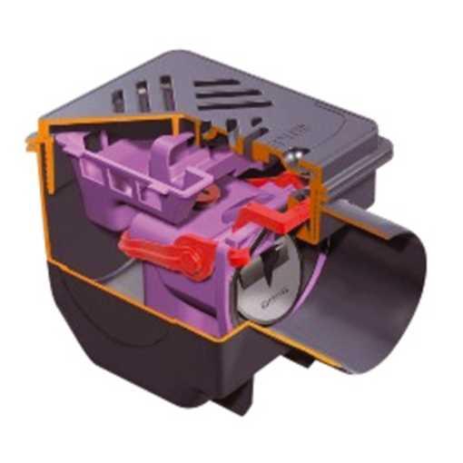 Kælderafløb med udtagelig vandlås med integreret dobbelt højvandslukke. Udtagelig slamspand, samt in
