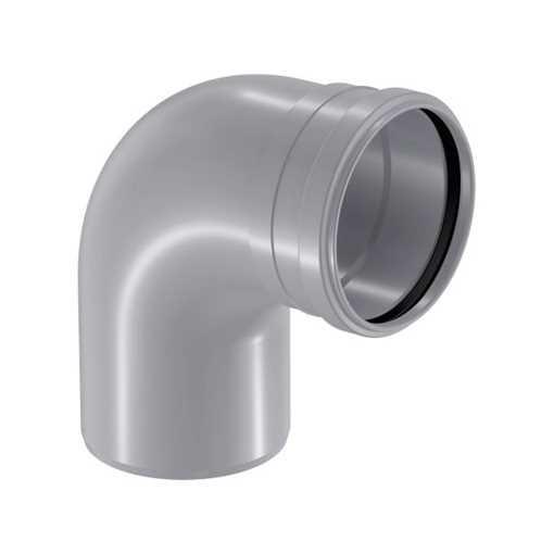 HTP afløbsbøjning 75 mm x 88° i grå bøjning , htp bøjning, plastbøjning, grå, HTP