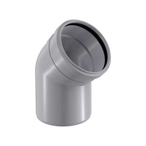 HTP afløbsbøjning 40 x 45° i grå grå afløbsbøjning, grå kloakbøjning, plastbøjning , htp bøjning