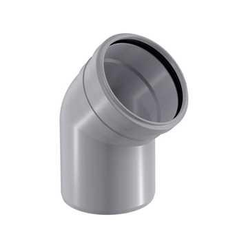 HTP afløbsbøjning 50 x 45° i grå grå afløbsbøjning, grå kloakbøjning, plastbøjning , htp bøjning,