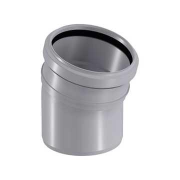 HTP afløbsbøjning 75 mm x 15° i grå grå afløbsrør, grå kloakrør, plastrør, htp rør, grå kloakfitting