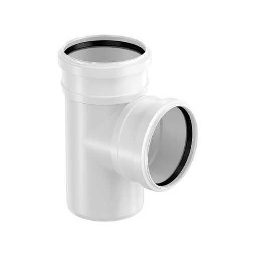 HTP grenrør 40 x 40 mm 88° hvid med 2 muffer grå afløbsgrenrør, grå kloakgrenrør, plastgrenrør, htp