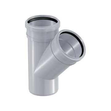 HTP grenrør 50 x 50 mm 45° i grå grå afløbsgrenrør, grå kloakgrenrør, plastgrenrør, htp grenrør, grå