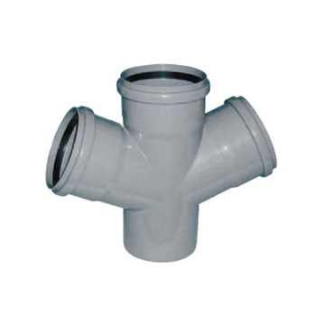 HTP dobbeltgrenrør med 4 muffer - 110 x 110 x 110 mm 88° grå