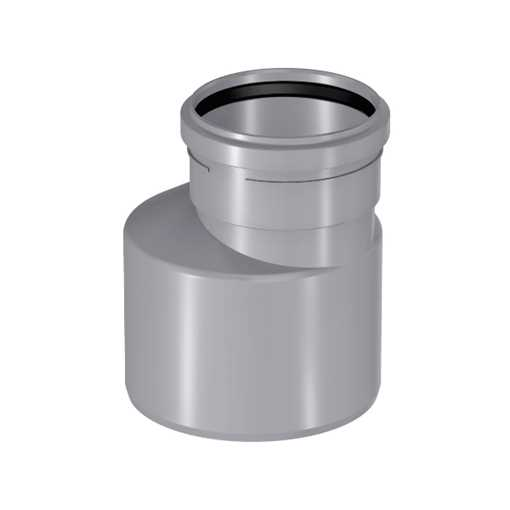 Uponor htp reduktion 75 x 40 mm lang model i grå