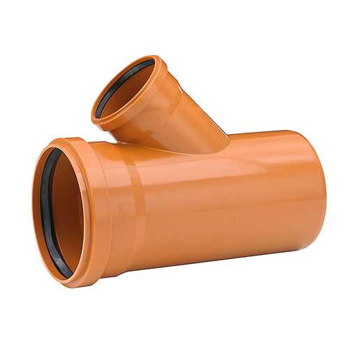 Kloakgrenrør i PVC 250 x 250 mm 45° glat m. 2 muffer pp kloak tee grenrør kloak plast kloakfittings