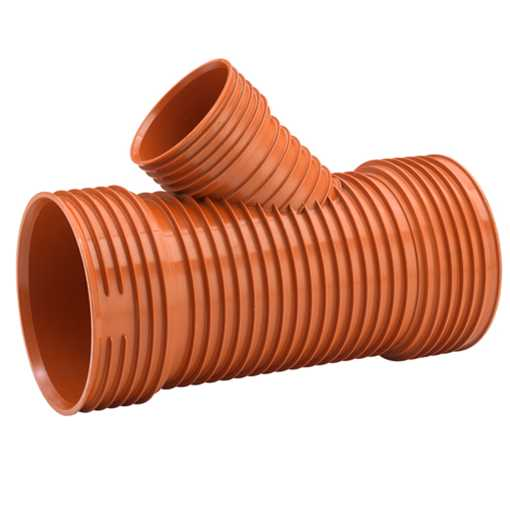 Uponor Ultra Rib2/Double kloakgrenrør 250 x 200 mm 45° Ekskl. tætningsring.