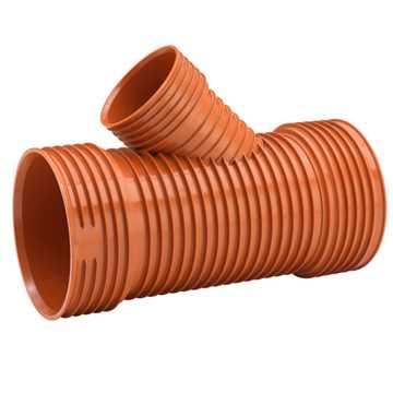 Uponor Ultra Rib2/Double kloakgrenrør 450 x 250 mm 45° Tætningsring medfølgere ikke.