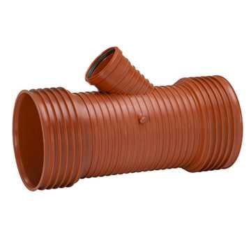 Uponor Ultra Rib2/Double kloakgrenrør 450 x 160 mm 45°. Afgrening til glat spidsende. Tætningsring m