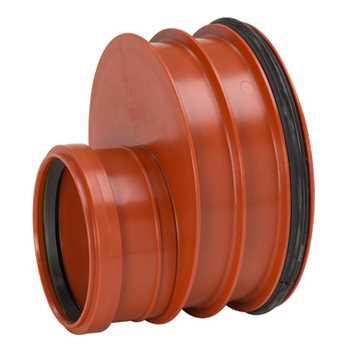 Uponor Ultra Rib2/Double kloakreduktion 250 x 160 mm. Med påsat tætningsring til glat spidsende.  Di