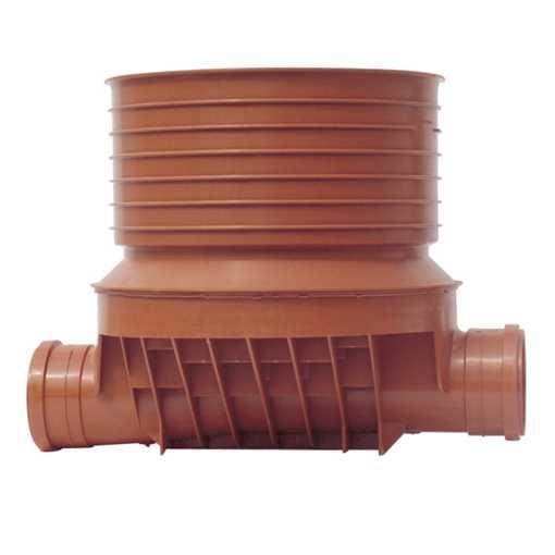 Uponor rense og inspektionsbrønd for 315 mm opføring i 110 mm lige - type 1 i PP. Til glat, ribbet o