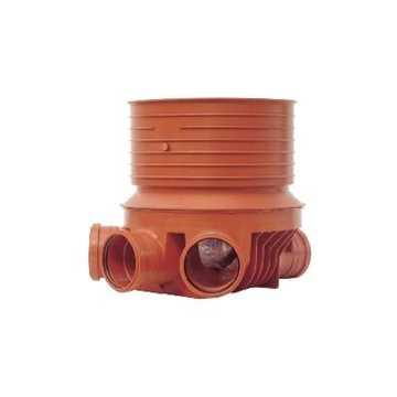 PP rense og inspektionsbrønd for 315 mm opføring i 110 mm højre/Venstre - type 2. Til glat, ribbet o