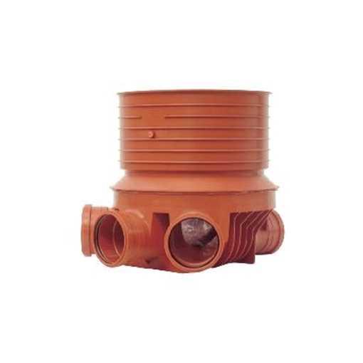 Uponor rense og inspektionsbrønd for 315 mm opføringsrør i 200 mm Højre/Venstre  tilløb, type 2, PP.