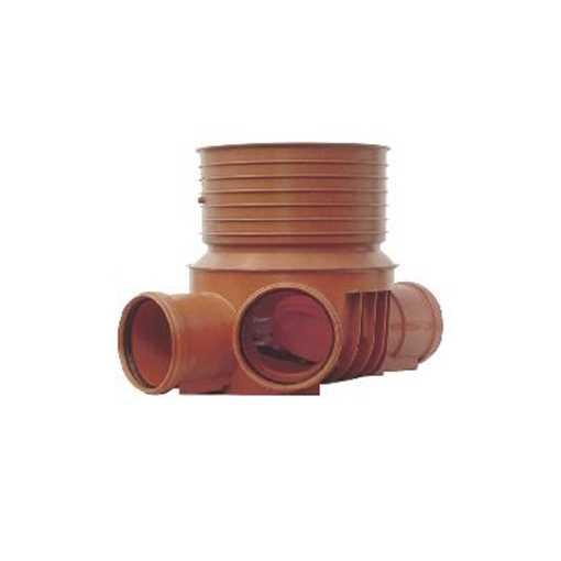 Uponor rense og inspektionsbrønd for 315 mm opføringsrør i 110 mm til  venstre  tilløb - type 3 i PP