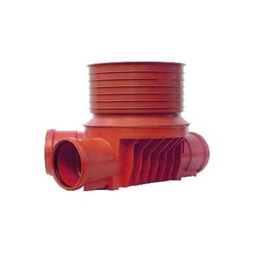 Uponor rense og inspektionsbrønd for 315 mm  opføringsrør i 110 mm til  højre tilløb - type 4 i PP.