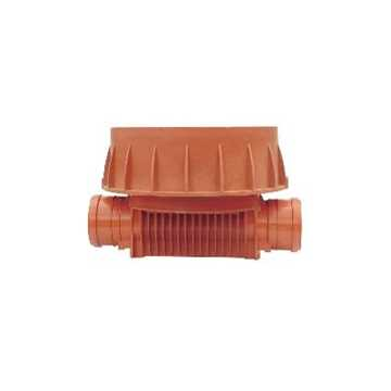 Uponor rense og inspektionsbrønd for 600 mm opføringsrør i 250 mm Lige gennemløb - type 1 i PP. Til