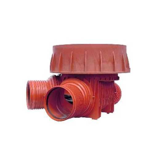 Uponor rense og inspektionsbrønd for 600 mm opføringsrør i 250 mm tilløb til  højre - type 4 i PP. T