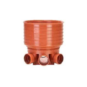 Uponor rense og inspektionsbrønd for 425 mm opføringsrør i 160 mm til Venstre/højre tilløb - type 2