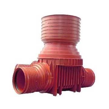 Uponor rense og inspektionsbrønd for 425 mm opføringsrør i 110 mm tilløb til højre - type 4 i PP. Ti