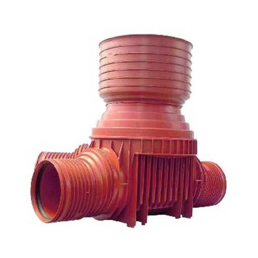 Uponor rense og inspektionsbrønd for 425 mm opføringsrør i 160 mm tilløb til højre - type 4 i PP. Ti