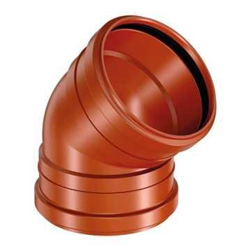 Kloakbøjning i PP 160 mm x 45° med 2 muffer kloakbøjning pp kloakfittings kloakplast kloakvinkel PP