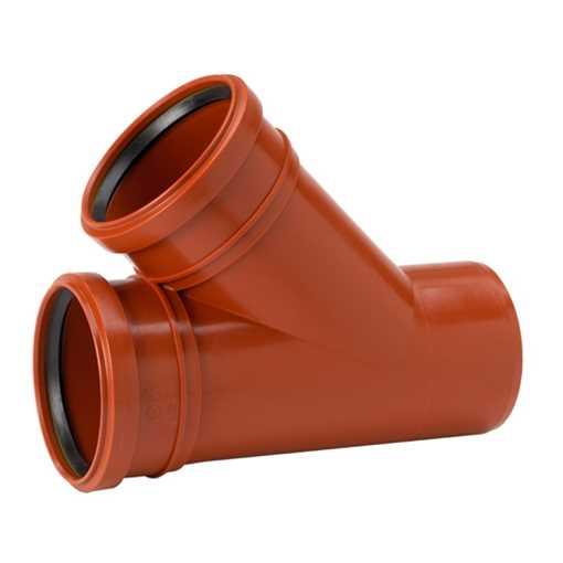 Kloakgrenrør i PP 110 x 110 mm 45° glat, med 2 muffer kloakbøjning pp kloakfittings kloakplast kloak