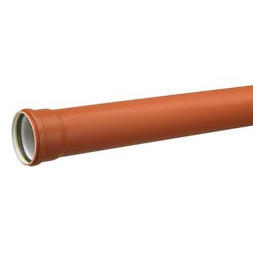 Kloakrør i  PP 160 x 1000mm m. muffe SN8 PVC kloakrør pvc rør kloak plast kloakrør pvc plastrør pris