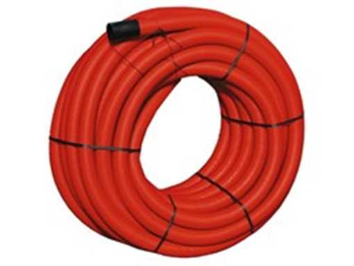Kabelrør m/ træktråd PE 160/140 mm korrugeret rød (50 m/rl) trækrør