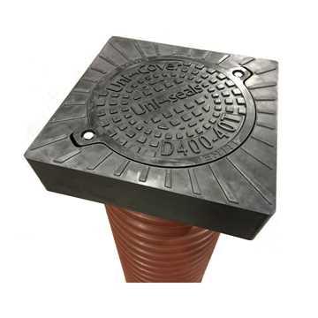 Uni-Cover firkantet flydende karm og dæksel i 315 mm med lås,pakning, er produceret i komposit, der