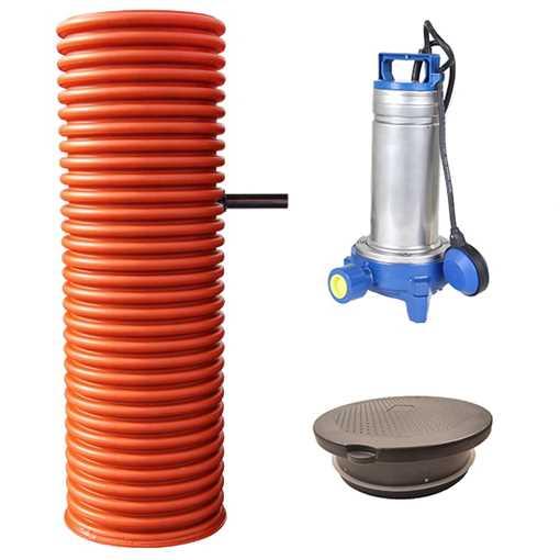 Pumpebrønd Ø600 mm til sort spildevand. Inkl. Flygt DXGM 25-11 pumpe med niveauvippe og plastkarm me