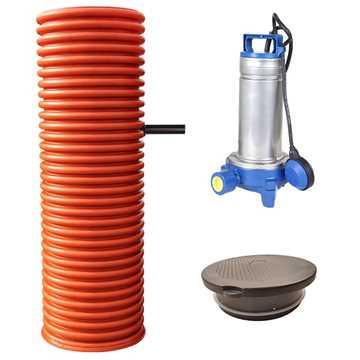 Pumpebrønd Ø600 mm til sort spildevand.Inkl. Flygt DXGM 25-11 pumpe med niveauvippe og plastkarm me