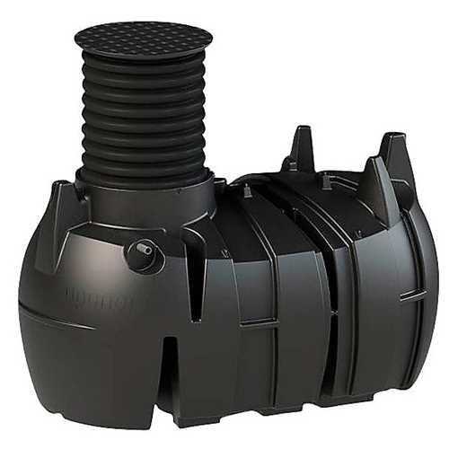 Den komplette pakke indeholder pumpe, justerbart opføringsrør og plastdæksel.  Tanken kan benyttes t