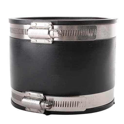 Spændvidde: 100-115 x 100-115mm. Overgangsmanchet 110 mm plast til 100 mm støbejern