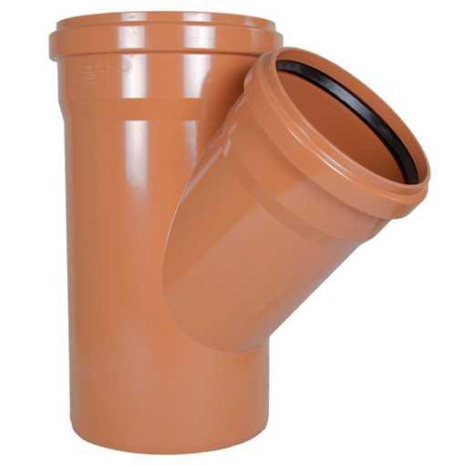 Kloakgrenrør PVC 315/250 mm x 45° PVC kloakgrenrør pvc kloakfittings kloak tee kloak plast