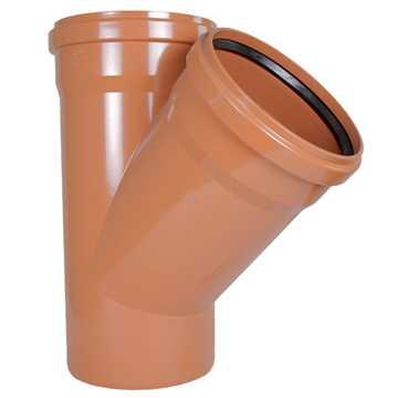 Kloakgrenrør i PVC 315 x 315 mm 45° PVC kloakgrenrør pvc kloakfittings kloak tee kloak plast