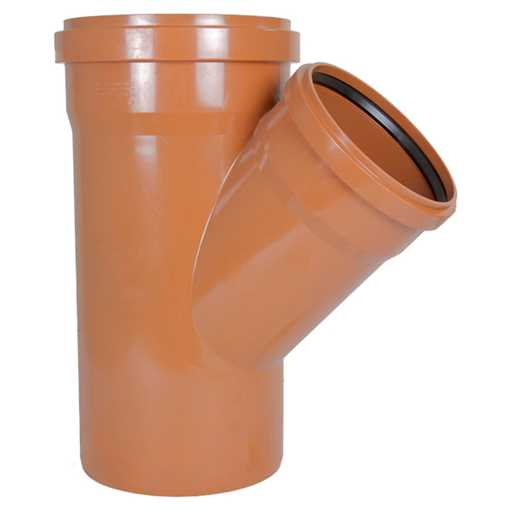 Kloakgrenrør PVC 250 x 200 mm x 45° PVC kloakgrenrør pvc kloakfittings kloak tee kloak plast