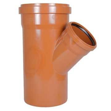 Kloakgrenrør PVC 250 x 160 mm x 45° PVC kloakgrenrør pvc kloakfittings kloak tee kloak plast