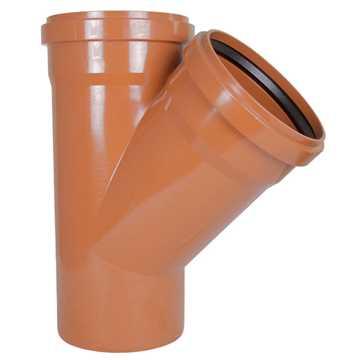 Kloakgrenrør PVC 250 x 250 mm x 45° PVC kloakgrenrør pvc kloakfittings kloak tee kloak plast